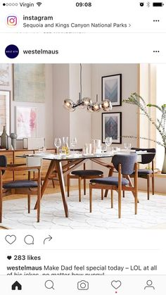 West Elm Dining Table, Walnut Dining Table, Dining Room Table, Dining Rooms, Walnut Wood, Glass Table, Sweet Home, Gallery Wall, Kitchen