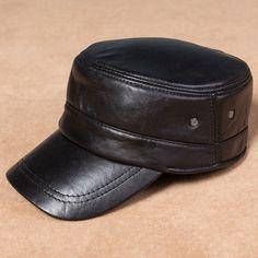 Men Leather Military Driving Sports Flat Cap Cadet Hat