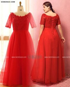 10% off now Custom Red Round Neck Long Wedding Party Dress with Flowers Short Sleeves High Quality at GemGrace. Click to learn our pro custom-made service for wedding dress, formal dress. View Plus Size Wedding Dresses for more ideas. Stable shipping world-wide. Mother Of The Bride Looks, Affordable Dresses, Wedding Rentals, Plus Size Wedding, Dress Formal, Custom Dresses, Wedding Party Dresses, Flower Dresses, Dresses Online
