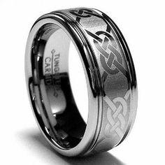 Etched Tunsten Carbide Celtic Wedding Ring