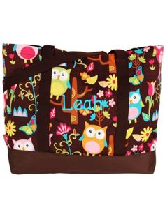 $8.50 Owl Give a Hoot Tote Bag with Brown Trim