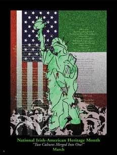 Poster: National Irish American Heritage Month Two Cultures Merged into One Item# IM Size: 18 x European American, Heritage Month, Irish Celtic, Bookmarks, Culture, Om, Poster, Buttons, Ireland