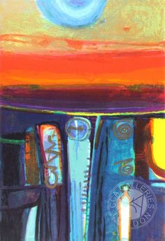 Red Sky by Barbara Rae - signed limited edition silkscreen on paper with metallic ink and glazes from CCA Galleries online. Abstract Landscape, Landscape Paintings, Sunset Landscape, Landscapes, Barbara Rae, Abstract Art Images, Rise Art, Silk Screen Printing, Contemporary Art