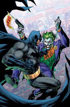 illustrated by: Jim Lee Scott Williams - Batman Canvas Art - Trending Batman Canvas Art - Joker Dc Comics, Joker Comic, Arte Dc Comics, Batman Comic Art, Joker Art, Batman Robin, Comic Wallpaper, Jim Lee Art, Univers Dc