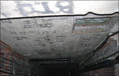 bomb shelter graffiti made with candle smoke