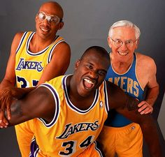 George Mikan, Kareem Abdul-Jabbar, and Shaquille O'Neal. Lakers greats bigs over NBA History although none of them originally played for the Lakers to start.