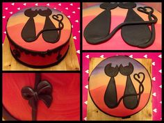 Yellow/Orange - Romantic silhouette cats looking at the sunset. Vanilla sponge double filled with strawberrycream and chocolatechips. Cute Cakes, Pretty Cakes, Beautiful Cakes, Cake Day, Eat Cake, Fondant Cat, Bolo Paris, Orange Sponge Cake, Cake Eater