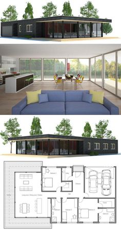 Modern architecture, house plan with three bedrooms. Floor plan of ConceptHome … - Architecture House Plans Building A Container Home, Container House Plans, Container Homes, Small Modern House Plans, Modern House Design, Modern Minimalist House, Minimalist Decor, Casas Containers, Narrow House
