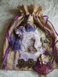 MARIE ANTOINETTE ANTIQUE FABRIC GIFT BAG by JenniesHeirlooms