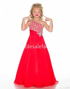 2014 New A Line Girl's Pageant Dresses One Shoulder Rhinestones Sequins Beaded Little Girl's Formal Dresses 43045S