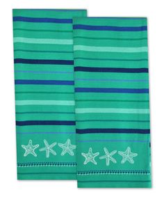 Look at this Starfish Lagoon Embroidered Dish Towel - Set of Two on #zulily today!