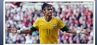 201c: The focus of this picture is on Brazilian football player 'Neymar'. The background is blurred to emphasize this. Initially his the photo is ambiguous, he could be protesting about a bad call or celebrating with absolute arrogance. The latter is correct in this instance.