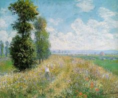 Claude Oscar Monet  Paintings-Meadow with Poplars aka Poplars near Argenteuil , 1875