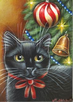 US Realism Artist Acrylic Animals Paintings Cat Christmas Tree, Christmas Tree Painting, Christmas Animals, Christmas Images, Black Cat Art, Black Cats, Cat Clipart, Gatos Cats, Cat Crafts