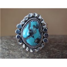 Native American Sterling Silver Turquoise Ring, Size 11 by Benally