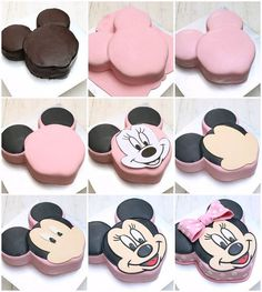 masam manis: Minnie Mouse Cake Tutorial Plus Torta Minnie Mouse, Mickey And Minnie Cake, Minnie Mouse Cookies, Bolo Mickey, Minnie Mouse Birthday Cakes, Mickey Cakes, Minnie Cupcakes, Mickey Birthday, 3rd Birthday