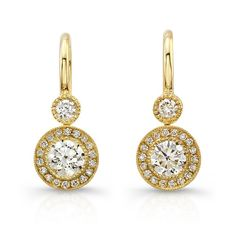 FM Yellow Earrings - Leverback earrings with bezel set Forevermark round brilliant diamonds accented with white diamond melee in 18kt yellow gold.