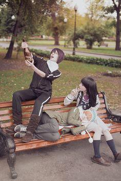 Fandom: Noragami Characters: Yato, Yukine, Hiyori Cosplayers: (Yato), (Yukine), (Hiyori) Photo by: