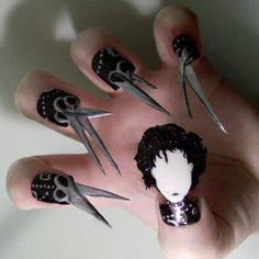 Wicked Nail art   Edward Scissorhands kimokame.com