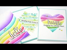 2018 VIDEO Creating Inked Rainbow Patterns and Die Cut Sentiments with Shadows Text Background, Background Ideas, Distress Ink Techniques, Card Tutorials, Video Tutorials, Rainbow Card, Card Making Tips, Mft Stamps, Congratulations Card