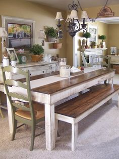 Cottage Charm Creations Custom Farmhouse Table u0026 Bench Set. Benches with two chairs painted & DIY Farmhouse Table and Bench | Pinterest | Diy farmhouse table ...