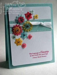 "Stampin' Up! Embossed Velum Flowers w/great tutorial for  embossing flowers; Stampin' Supplies; Stamps: Language of Friendship*; Paper: 2011-2013 In Color DSP Pack*, Pool Party, Whisper White CS and Vellum CS; Ink: Regal Rose*, Daffodil Delight, Pool Party, Tempting Turquoise; Accessories: Boho Blossoms punch, 3/8"" corner rounding punch, Jewel Basics Rhinestones, Signo White gel pen, brayer, glue dots, Whisper White stitched grosgrain, dimensionals  * Stampin' Up! Items listed are retired"