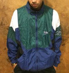 Vintage 90's Reebok Men Windbreaker/Track Jacket VeryRare Vintage Windbreaker, Reebok, The North Face, Track, Classic, Jackets, Outfits, Fashion, Down Jackets