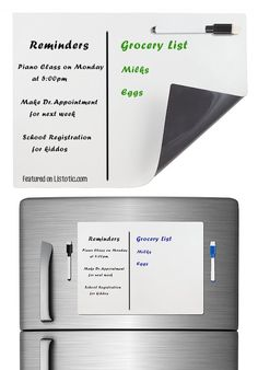 #7. Use a magnetic dry erase board on your fridge for reminders and lists. | 11 Brilliant Fridge Organization Ideas