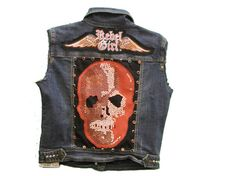 #summer #studded #denim #vest #skull #leather #concho  #rocknroll  #RebelGirl #style  #motorcycle