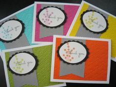 Handmade Thank You Cards Set of 5 by apaperaffaire on Etsy