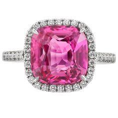 4.88 Carat Pink Sapphire Diamond Ring   1stdibs.com