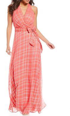 Leslie Fay Sleeveless Surplice Maxi Dress