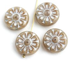 18mm Beige and Silver Flower beads, 2pc Czech glass Round tablet floral ornament beads, Natural beige color - 2pc - 1739 by MayaHoney on Etsy