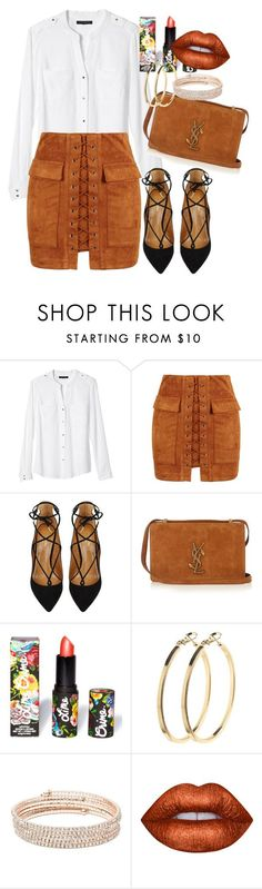 """""""Untitled #463"""" by dreamer3108 on Polyvore featuring Banana Republic, WithChic, Aquazzura, Yves Saint Laurent, Lime Crime, Pieces and Anne Klein"""