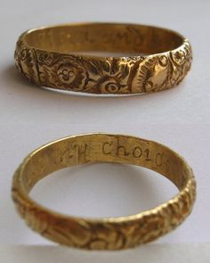 """Joseph Collier, Posy ring, 18th century . The ring inscription reads: """"I love and like my choice""""."""