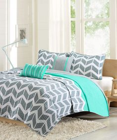 Look what I found on #zulily! Teal & Gray Chevron Quilt Set #zulilyfinds