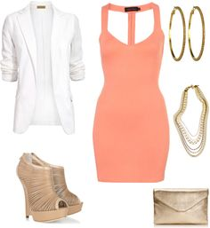 Peach and White Dressy Outfit. This whole outfit! Looks Cool, Looks Style, Style Me, Dressy Outfits, Summer Outfits, Cute Outfits, Dinner Outfits, Fashionable Outfits, Stylish Clothes