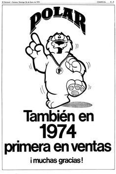 Década 70. Publicidad de Polar en El Nacional. Día domingo 26 de enero de 1975.