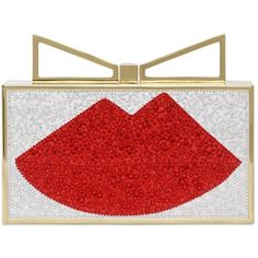Sara Battaglia Women Swarovski Crystals Lips Satin Clutch (1 545 AUD) ❤ liked on Polyvore featuring bags, handbags, clutches, red, lips, multicolor, multi colored clutches, red purse, multi colored purses and colorful clutches