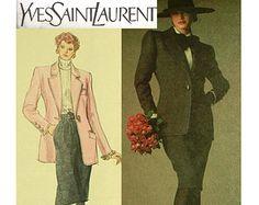 Vogue Pattern 2350 Designer YSL Paris Original Jacket & Skirt - Sz 12 Uncut FF ADVANCED Vintage Haute Couture Suit Pattern Sewing Supplies