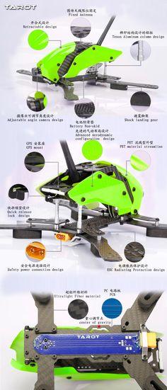 Tarot TL250H 250mm Semi-carbon FPV Racer Frame Kit For Multicopter Quadcopter Sale-Banggood.com