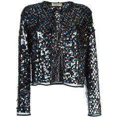Emilio Pucci sequin jacket ($2,489) ❤ liked on Polyvore featuring outerwear, jackets, multicolor, multi color jacket, multi colored jacket, sequin jacket, emilio pucci jacket and emilio pucci