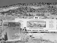 1950s billboard, and model, promoting Route 66 attractions in Arizona. Original 4x5 negative.  Prints available on our Etsy site.
