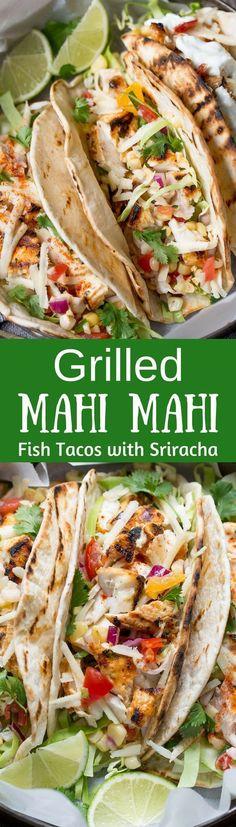 Sriracha Grilled Mahi Mahi Fish Tacos with Sweet Corn Salsa ~ from www.savingdessert.com