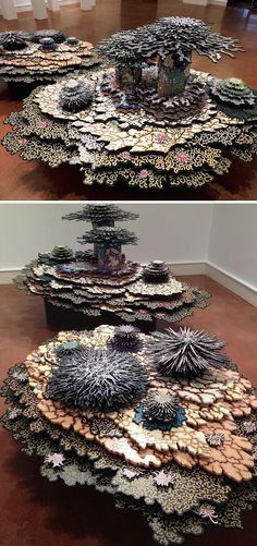 Artist Terry Hays creates cross-cultural, abstract sculptures adorned with ornate, colorful patterns.