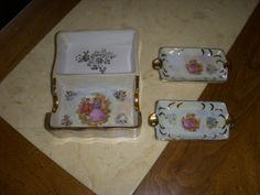 Vintage Ashtray Set Japan Porcelain Gold Leaf by MyYiayiaHadThat, $9.00