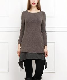 This Brown Layered Sidetail Tunic is perfect! #zulilyfinds