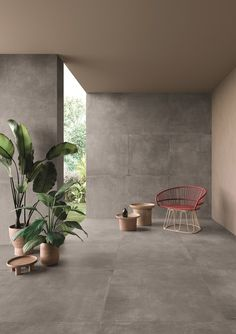 Noord by Ceramiche Keope. Tra minimal e industrial Zen Interiors, Concrete Interiors, Industrial Interiors, Floor Design, Tile Design, Interior Garden, Interior Design, Casa Cook Hotel, Tropical Houses