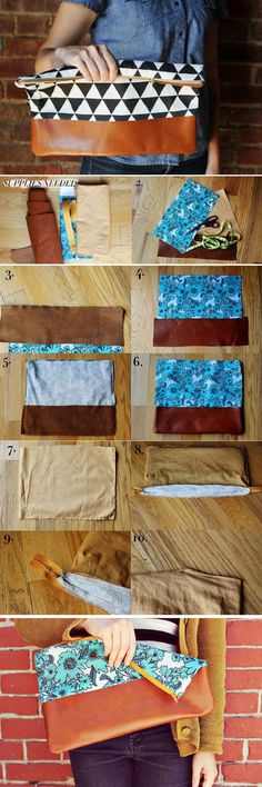 Simple Cotton and Leather Clutch Purse step-by-step tutorial.
