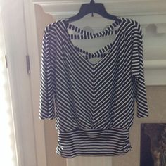 NWOT WHBM STRIPED TOP Black and white striped top with back criss cross and bottom side ruching.  V neckline. Great top. White House Black Market Tops